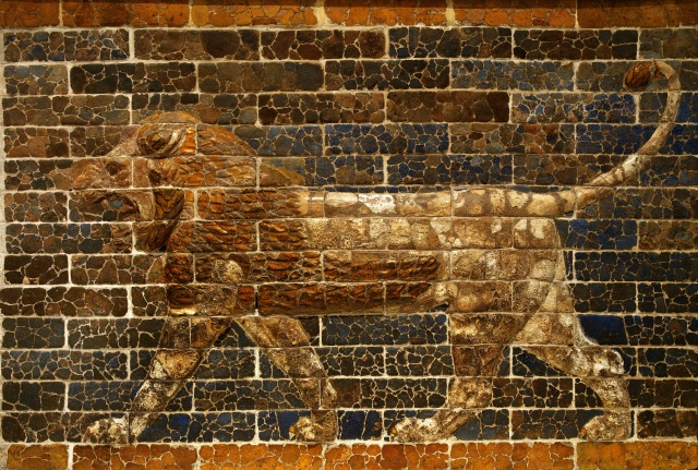 Striding Lion terracotta relief, Babylon, Southern Citadel. 605 - 562 BCE. From the throne room facade of the palace of King Nebuchadnezzar II © ROM 2013