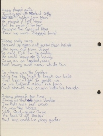 Original lyrics for 'Ziggy Stardust,' by David Bowie, 1972  Courtesy of The David Bowie Archive Image © Victoria and Albert Museum